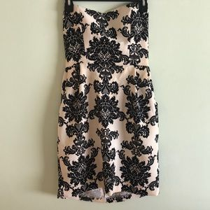 Buttons - Cream and Black Strapless Dress (S)